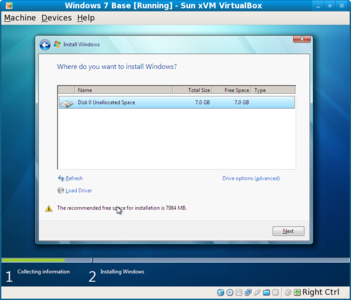 Windows 7 recommended disk size